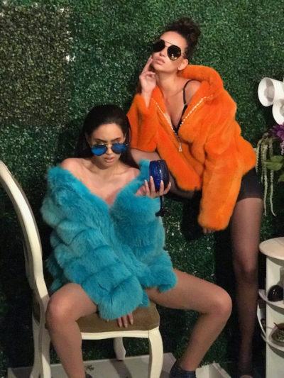 Blue Iris Mink Stroller Orange Mink Jacket