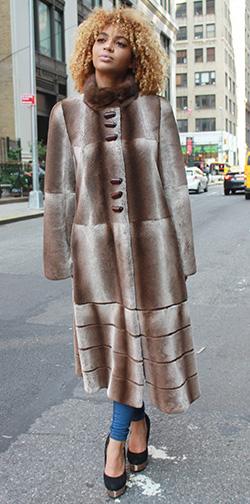 Full Length Two Toned Rex Rabbit Fur Coat