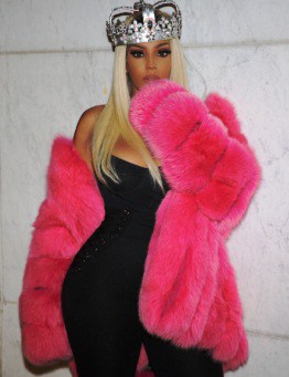 Pink Fox Fur Stroller