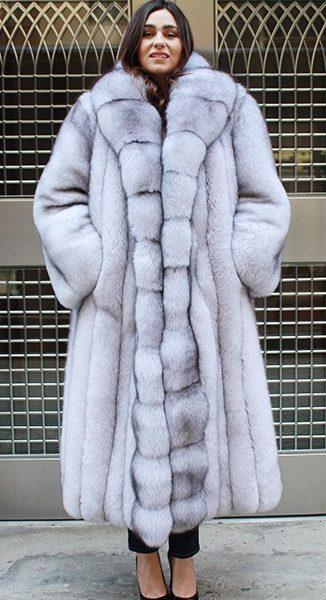 Magnificent Full Length Plus Size Blue Fox Fur CoatMARC KAUFMAN ...