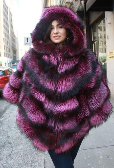 Fuschia Silver Fox Fur Cape With Hood