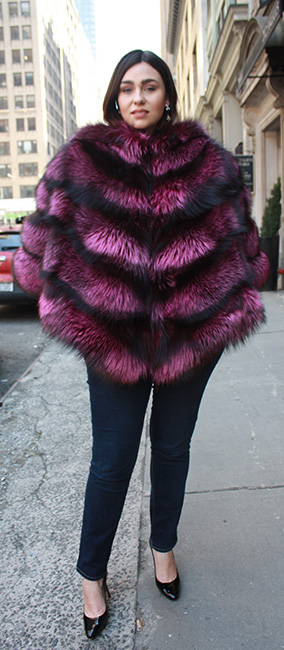 Fuschia Silver Fox Fur Cape With Hood