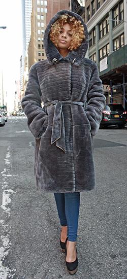 Grey Mouton Lamb Fur Stroller with Hood