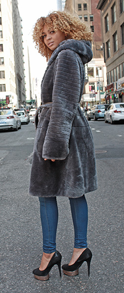 Grey Mouton Lamb Fur Stroller with Hood