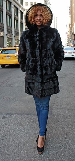 Horizontal Mink Fur Jacket with Hood