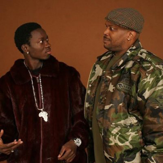 Comedian Michael Blackson Burgundy Mink Jacket