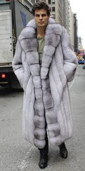 Men's Blue Fox Coat Full Length