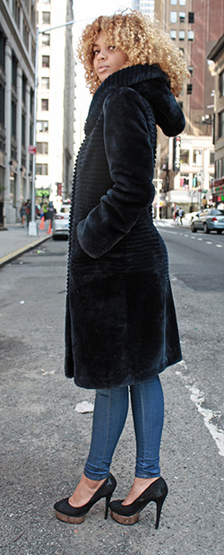 Navy Blue Mouton Lamb Fur Stroller with Hood