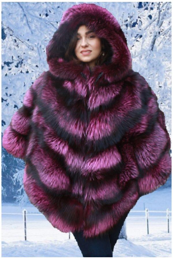 silver fox fur cape with hood