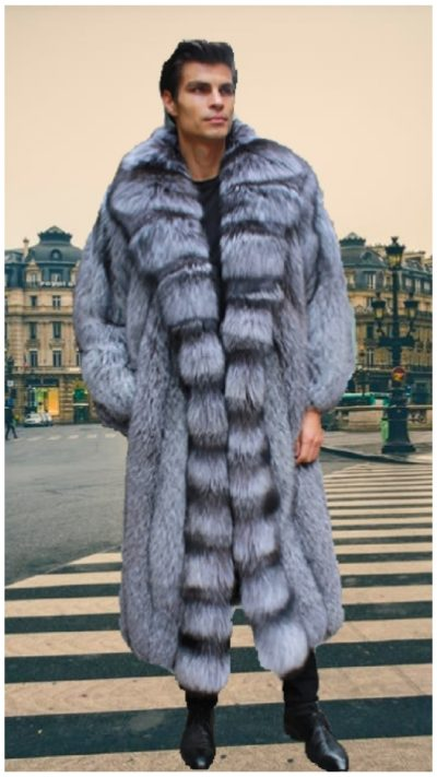 classic men's canadian silver fox fur coat