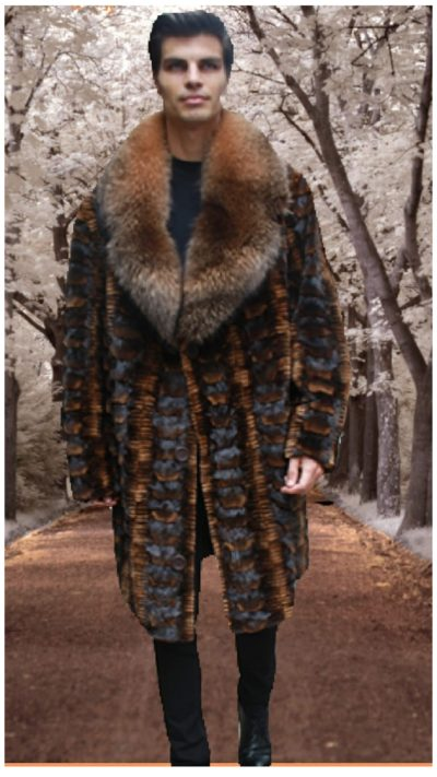men's mink stroller cognac sculptured mink fox collar