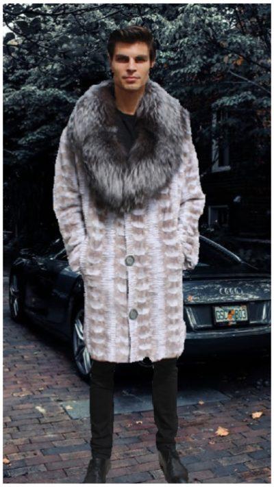men's mink stroller off white sculptured silver fox collar