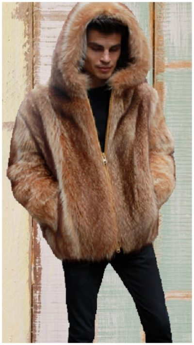 mens bomber fur jacket