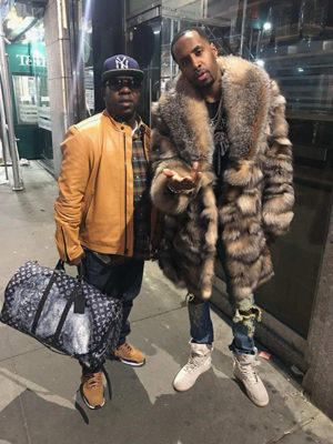 Celebrity Safaree Samuels Wearing Crystal Fox Fur Coat