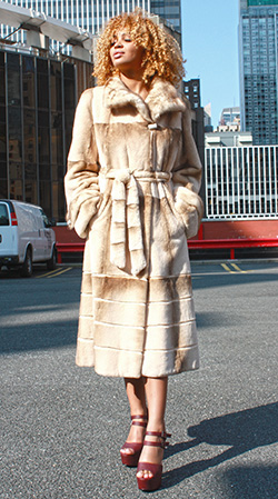 Two Toned Rex Rabbit Fur Coat