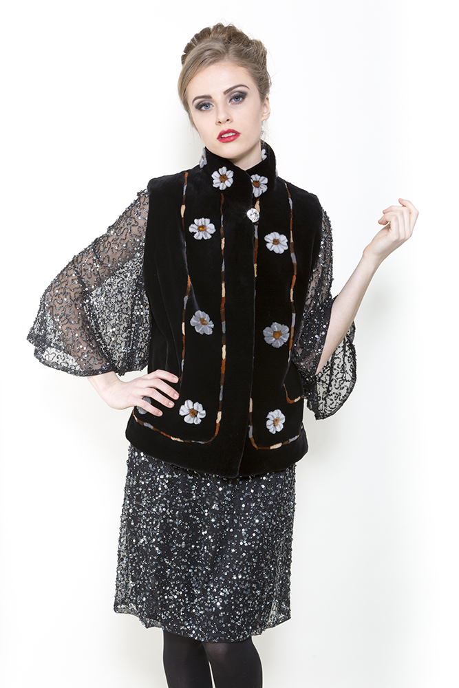 Zuki Onyx Neon Flower Sheared beaver fur vest