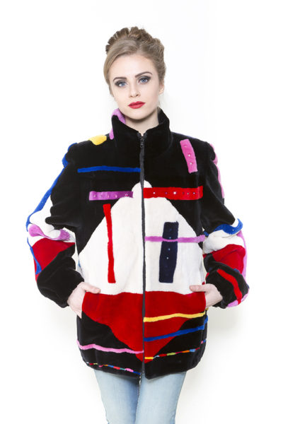 Zuki Furs Tri-color Abstract Sheared Beaver Jacket