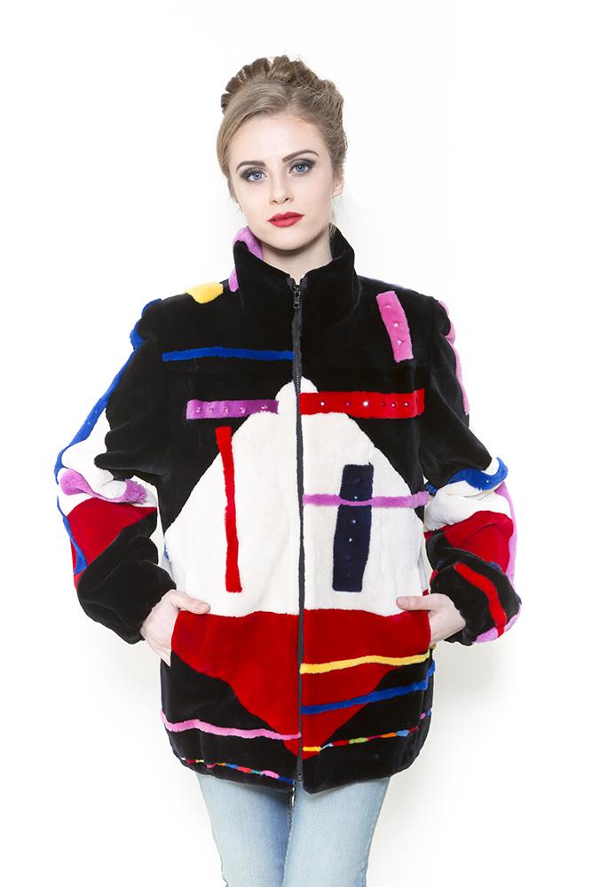 Zuki Furs Tri-color Abstract Sheared Beaver Jacket