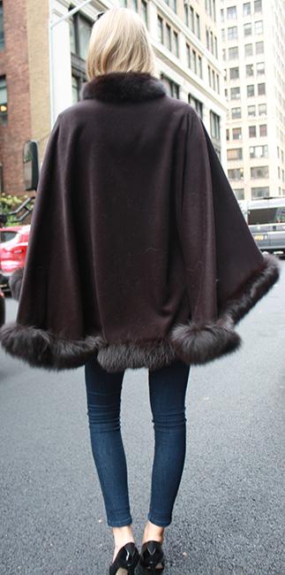 Brown Cape with Fox Fur Trim
