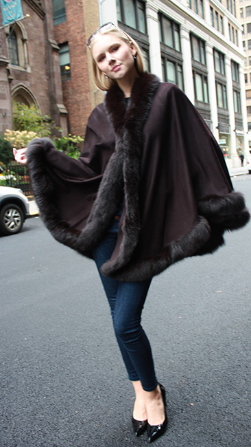 Brown Cape with Fox Fur Trim