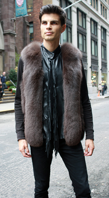 Brown Fox Fur Vest With Leather