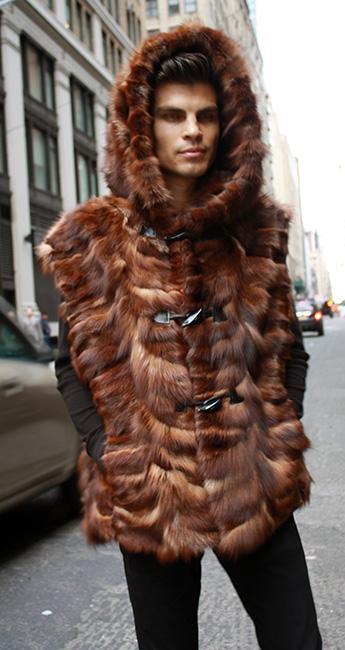 Brown Sculptured Fox Fur Vest With Hood