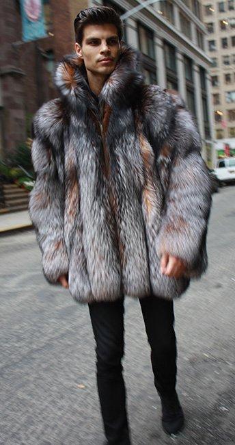 Crystal Fox Fur Stroller with Dyed Silver Fox Fur