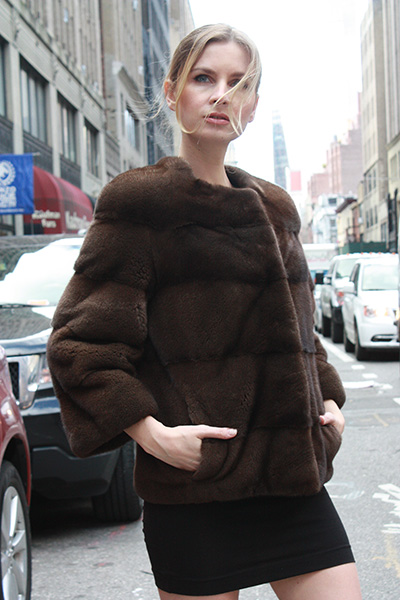 Demi Mink Horizontal Fur Jacket