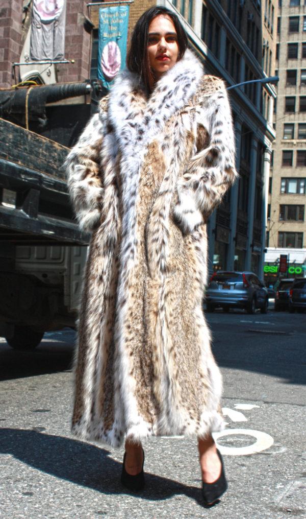Full Length American Cat Lynx Fur Coat