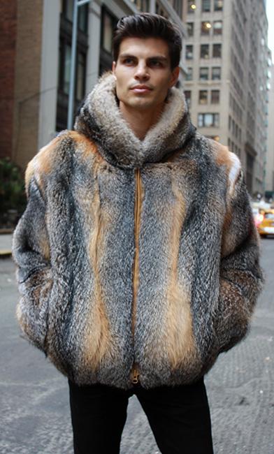 Grey Fox Fur Jacket with Hood