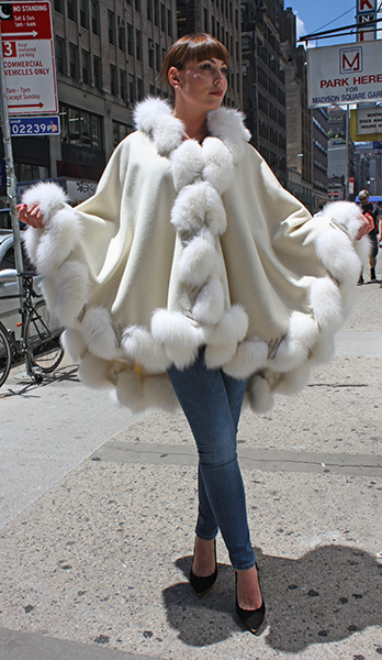 White Cashmere Cape with Hood and Fox FurTrim