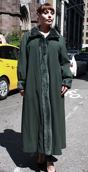 Green Micro Fiber Coat with Nutria Fur Trim and Lining