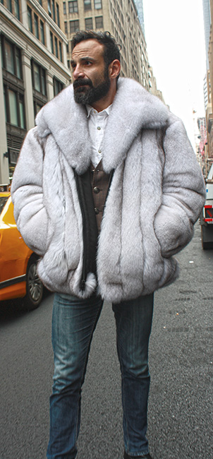 Mens Blue Fox Fur Bomber Jacket