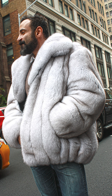 Blue Fox Fur Mens Bomber Jacket Marc Kaufman Furs