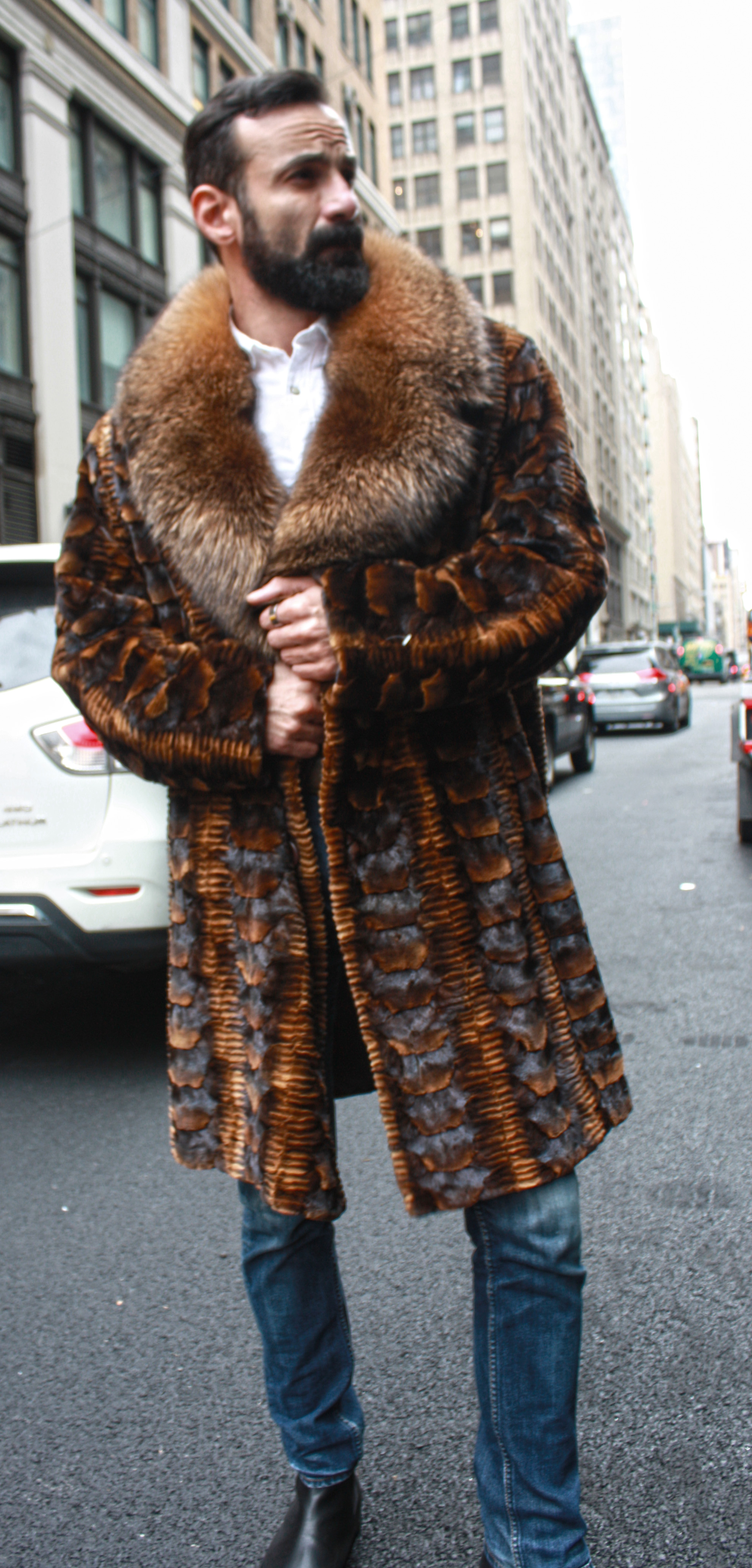 Whiskey Sheared Mink Fur Jacket with Hood and Fox Fur Trim Marc Kaufman Furs