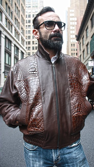 Brown Leather Jacket with Gator Fronts