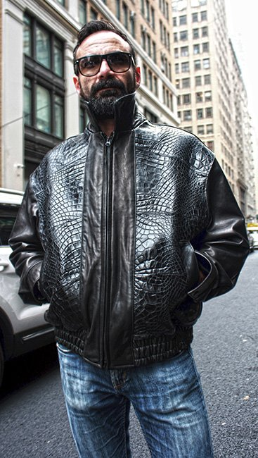 Black Leather Jacket with Gator Fronts