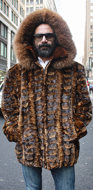 Whiskey Sheared Mink Fur Jacket with Hood and Fox Fur Trim