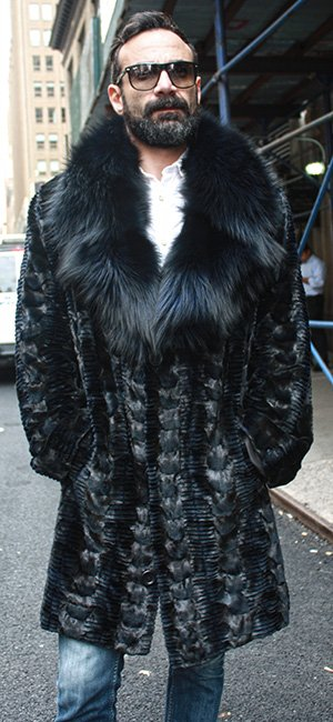 Navy Blue Diamond Cut Sheared Mink Fur Coat with Fox Fur Collar