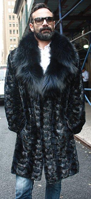 Navy Blue Diamond Cut Sheared Mink Fur Coat with Fox Fur Collar