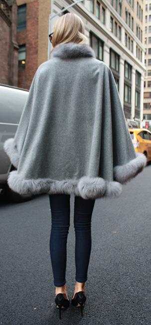 Light Grey Cape with Fox Fur Trim