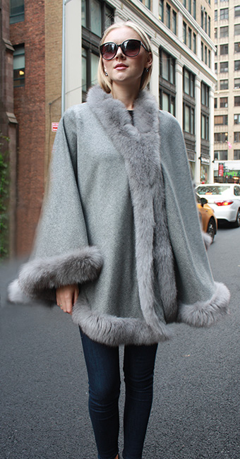 Light Grey Cape with Fox Fur Trim