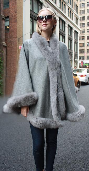 Grey cape with fox fur trims