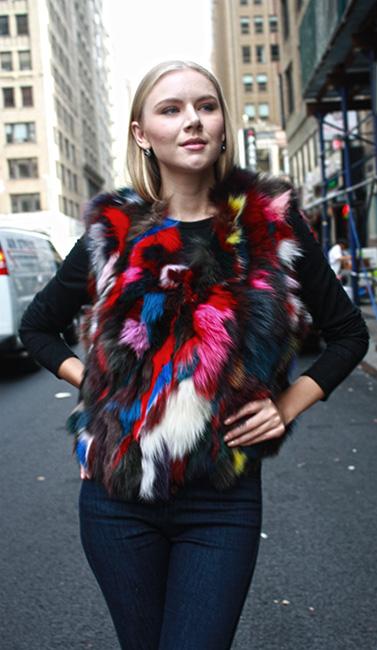 Multi Colored Fox Fur Vest