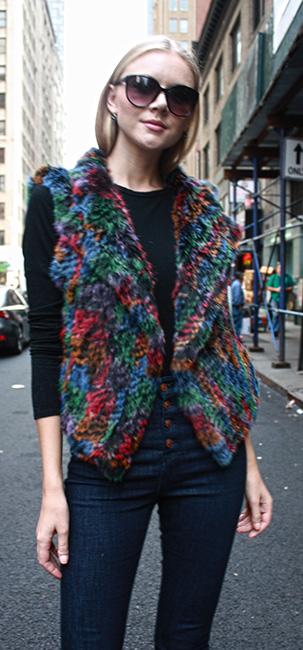 Multi Colored Rabbit Fur Vest