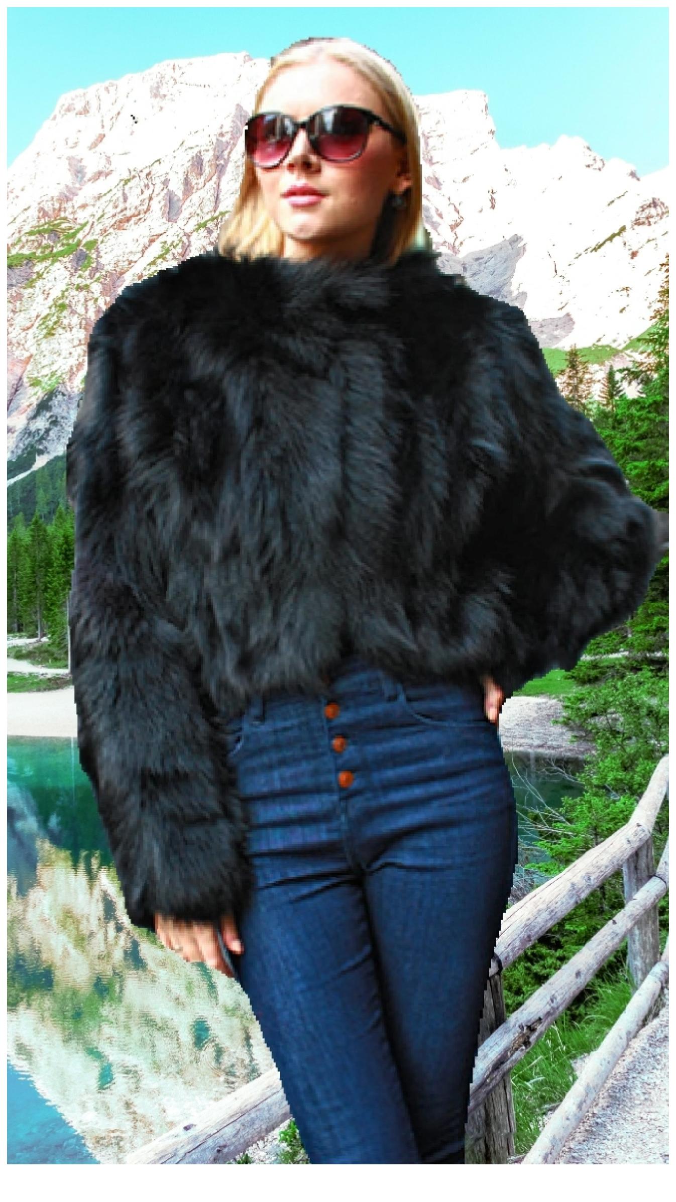 1e24e301d Black Fox Fur Jacket