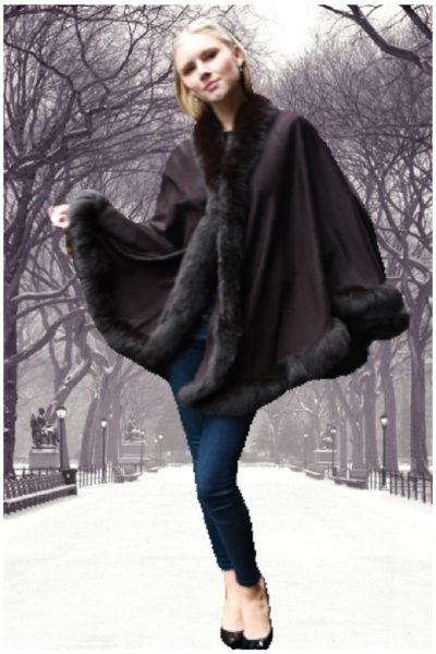 brown cashmere cape fox fur trim
