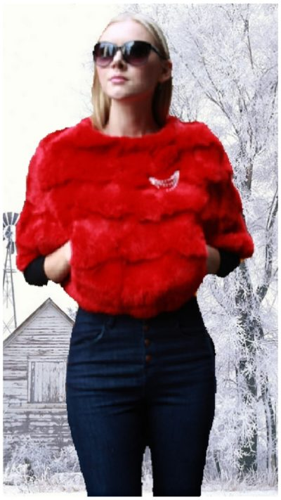 red rabbit fur caplet