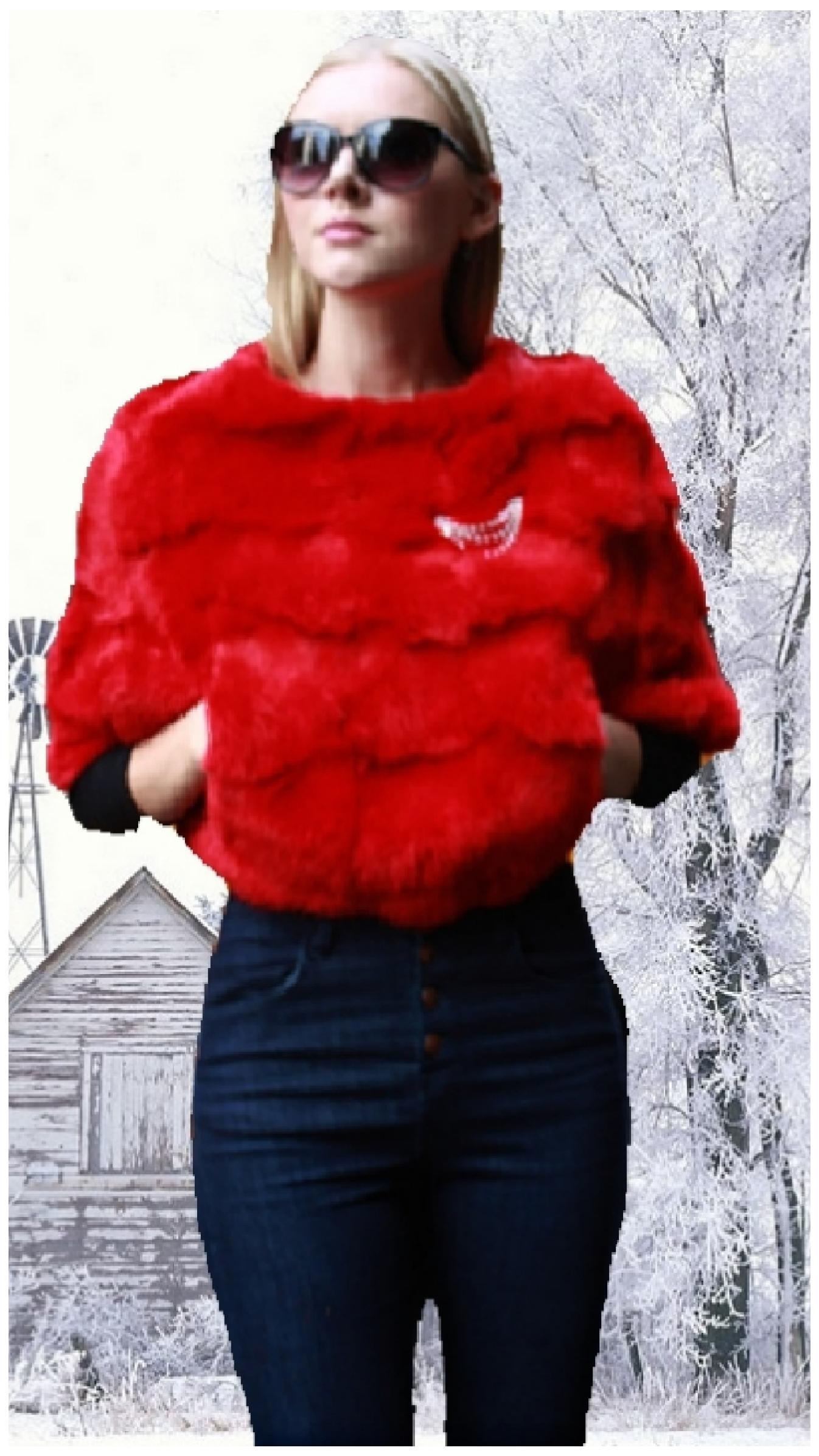 red rabbit fur caplet