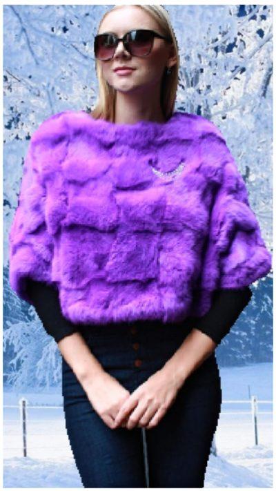 purple rabbit fur caplet